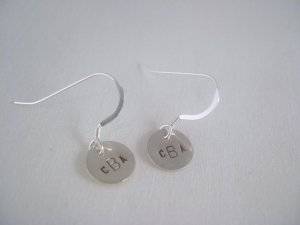 Monogram Name Earrings Sterling Silver Dangle Circle Hand Stamped E001