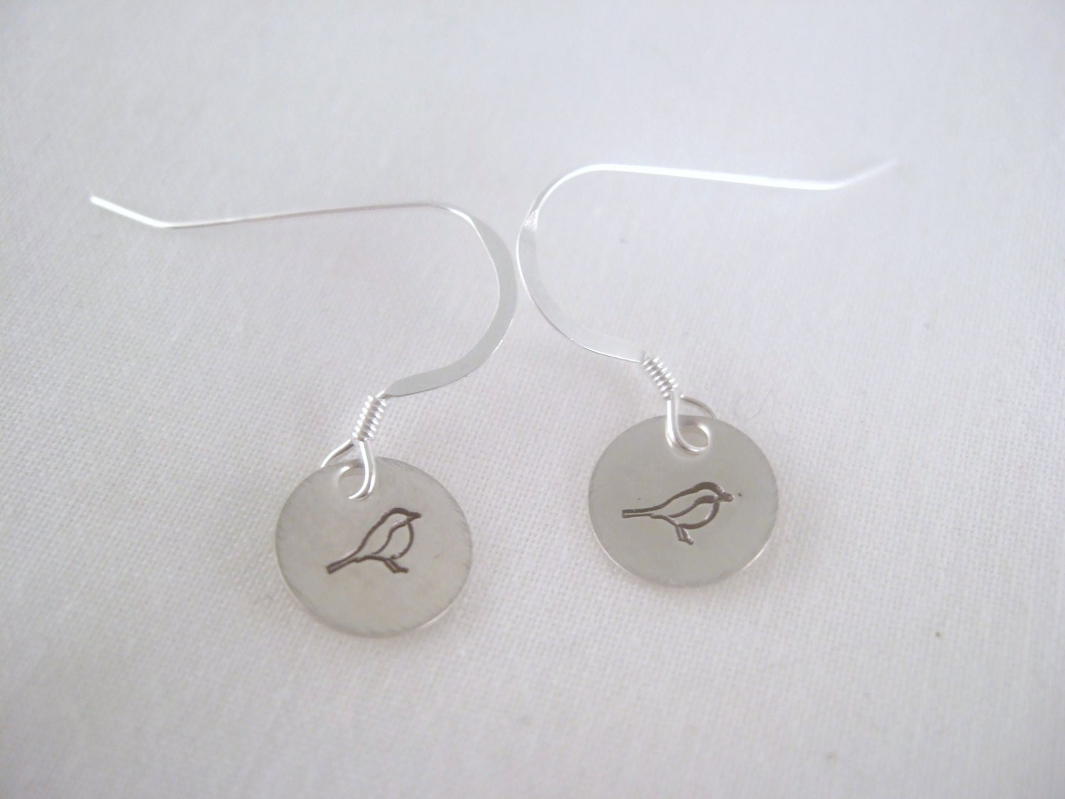 Song Bird Sterling Silver Dangle Circle Earrings E008