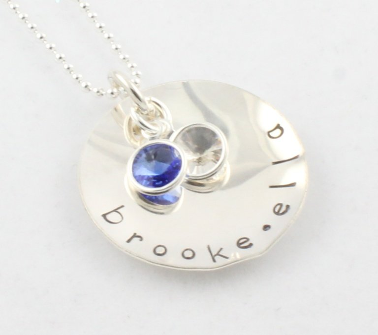Custom Personalized Sterling Silver Birthstone Necklace N120