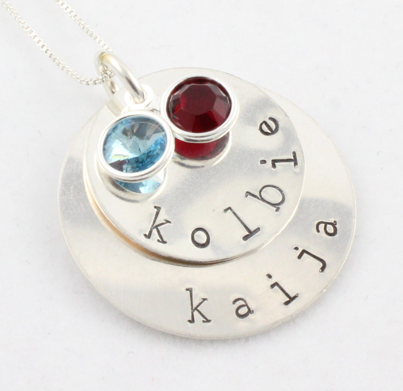 Custom Handstamped Personalized Mom Family Sterling Silver Circle Pendant Necklace N145