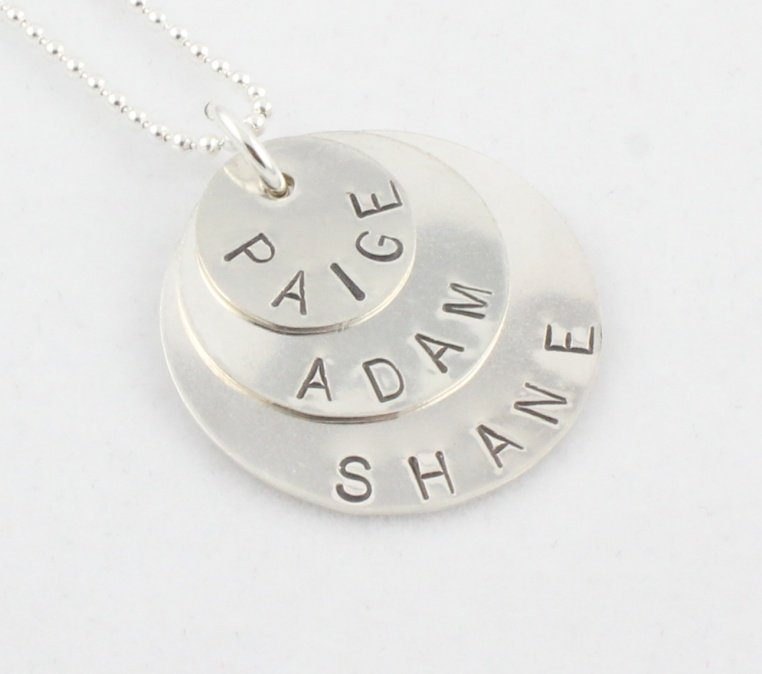 Custom Handstamped Personalized Mom Family Sterling Silver Circle Pendant Necklace N146