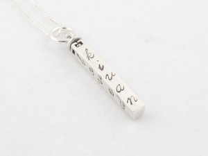 Rectangle Bar Custom Hand Stamped Personalized Mom Family Sterling Silver Necklace N073