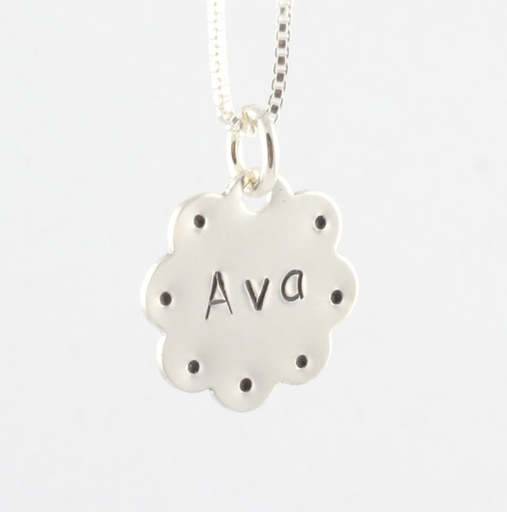Flower Personalized Sterling Silver Necklace Girl N090