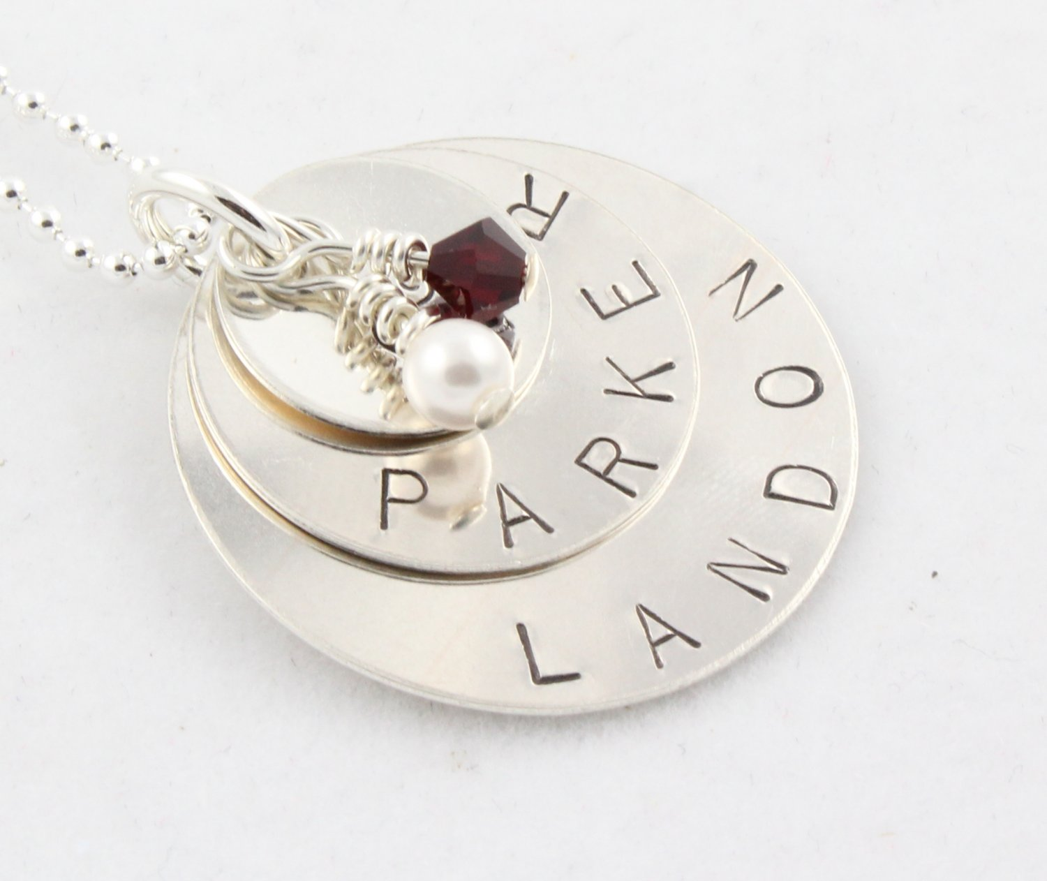 Custom Handstamped Personalized Mom Family Sterling Silver Circle Pendant Necklace N144