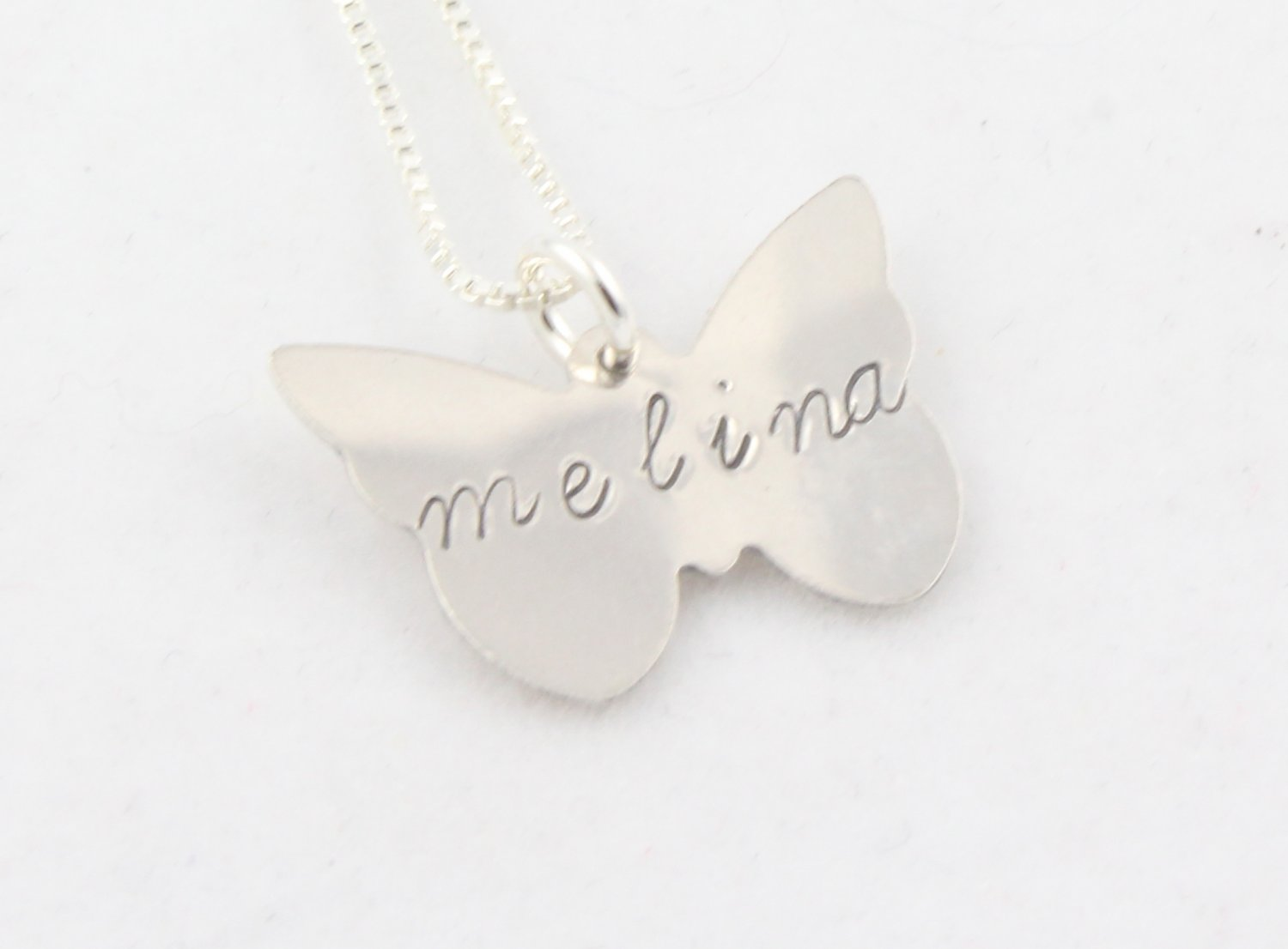 Butterfly Necklace Sterling Silver Custom Personalized Hand Stamped N041