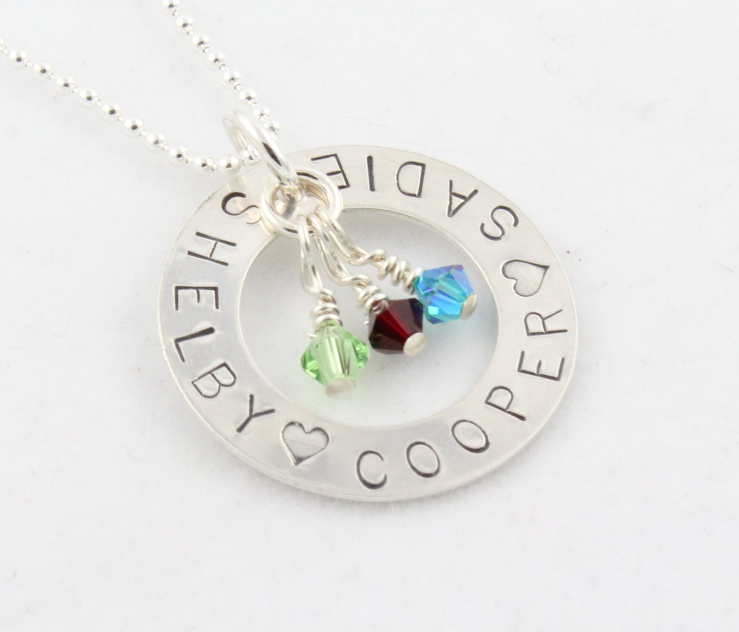 Circle Birthstone Necklace Sterling Silver Custom Personalized Hand Stamped N051