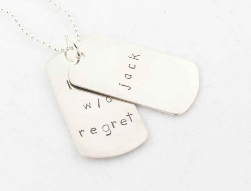 Dad Father's Day Dog Tags Necklace Sterling Silver Custom Personalized Hand Stamped N047