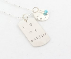 I Love My Soldier Personalized Silver Necklace