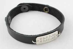 Unisex Leather Bracelet Personalized Custom Hand Stamped B004