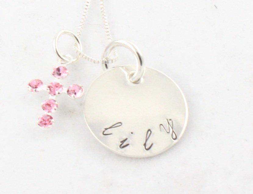 Cross Faith Christian Necklace Custom Personalized Silver