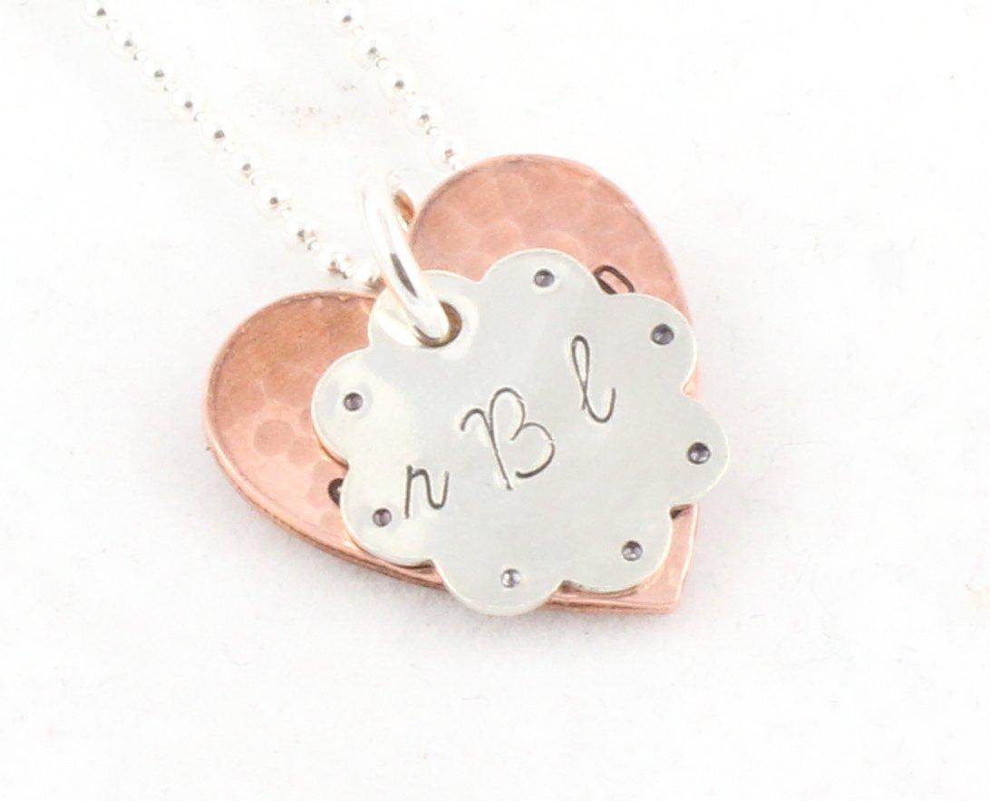 Flower Heart Sterling Silver Copper Necklace N137