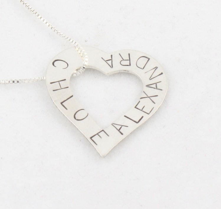 Heart Outline Custom Hand Stamped Personalized Sterling Silver Pendant Necklace N067