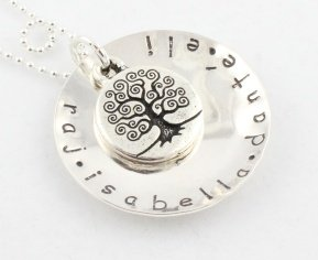 Large Tree of Life Necklace Custom Hand Stamped Personalized Sterling Silver N096