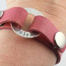 Leather Snap Bracelet Personalized Silver Custom Hand Stamped