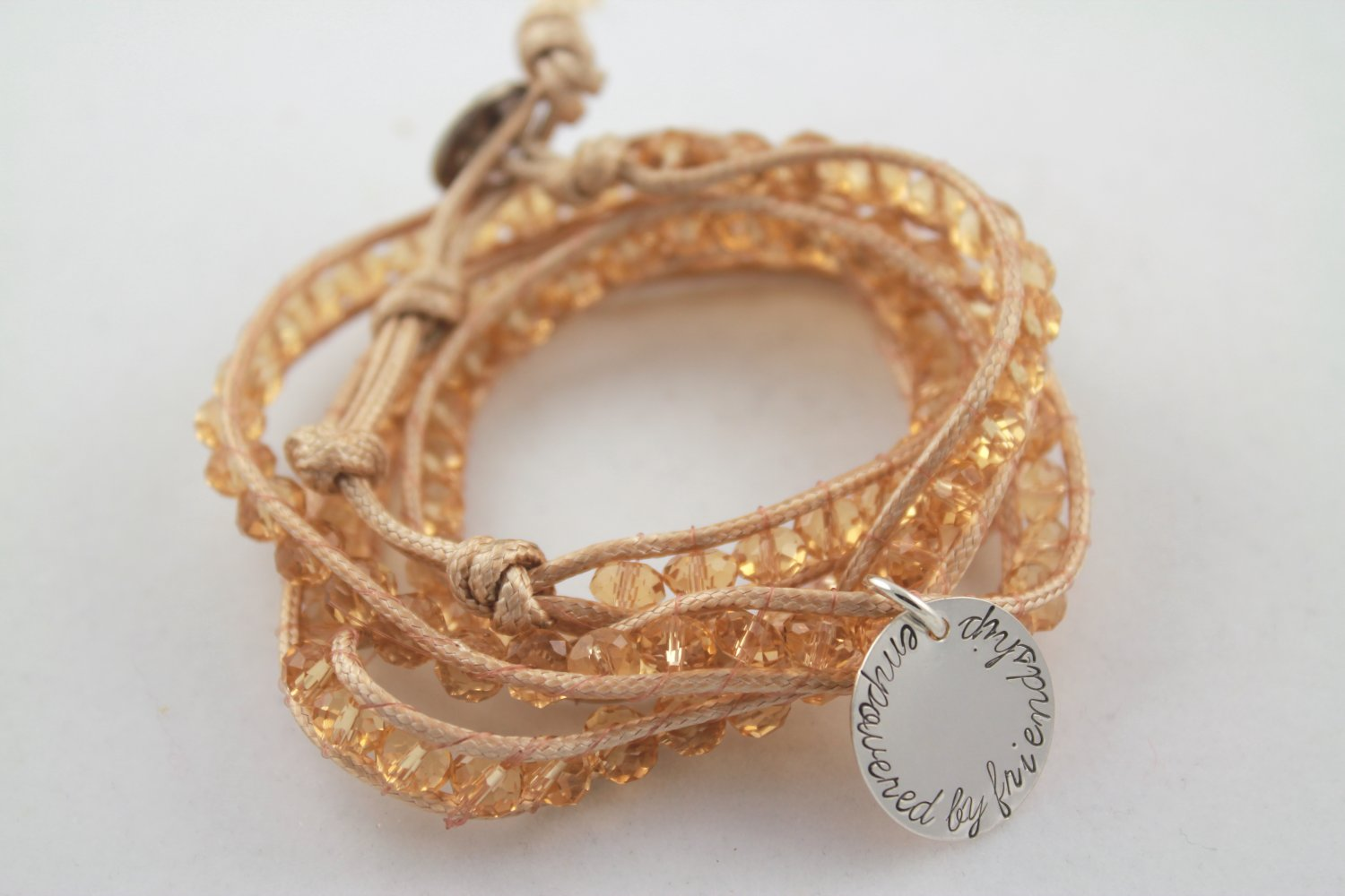 Gold Leather Wrap Bracelet Personalized Silver Custom Hand Stamped