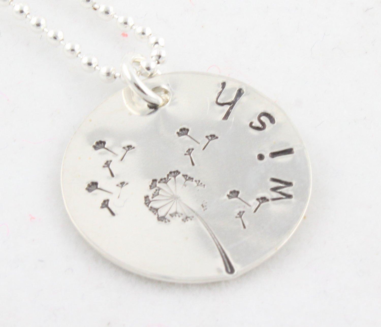 Wish Dandelion Hand Stamped Sterling Silver Necklace N089