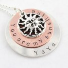 You Are My Sunshine Custom Hand Stamped Personalized Sterling Silver Circle Pendant Necklace N108