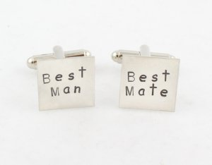 Best Man Wedding Square Cufflinks Men Personalized Sterling Silver Monogram Names