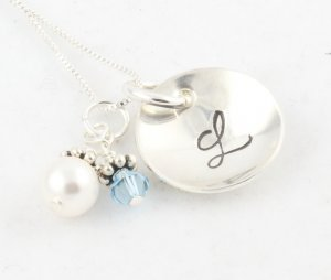Custom Personalized Sterling Silver Hand Stamped Birthstone Necklace