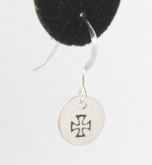 Maltese Cross Earrings Sterling Silver Dangle Circle Hand Stamped