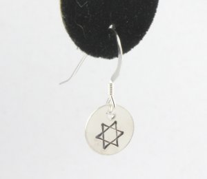 Star of David Judaica Jewish Earrings Sterling Silver Dangle Circle Hand Stamped