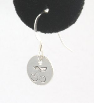 Bing Cherry Cherries Earrings Sterling Silver Dangle Circle Hand Stamped