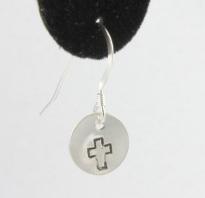 Cross Outline Earrings Sterling Silver Dangle Circle Hand Stamped