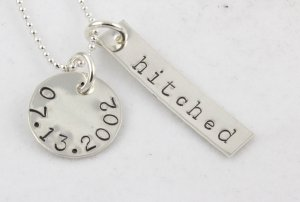 Hitched Wedding Necklace Hand Stamped Sterling Silver