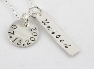 United Wedding Necklace Hand Stamped Sterling Silver
