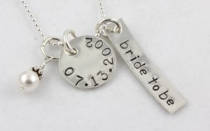 Bride to Be Necklace Hand Stamped Sterling Silver