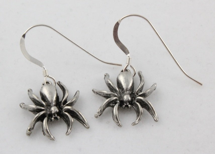 Halloween Spider Dangle Sterling Silver Earrings E009