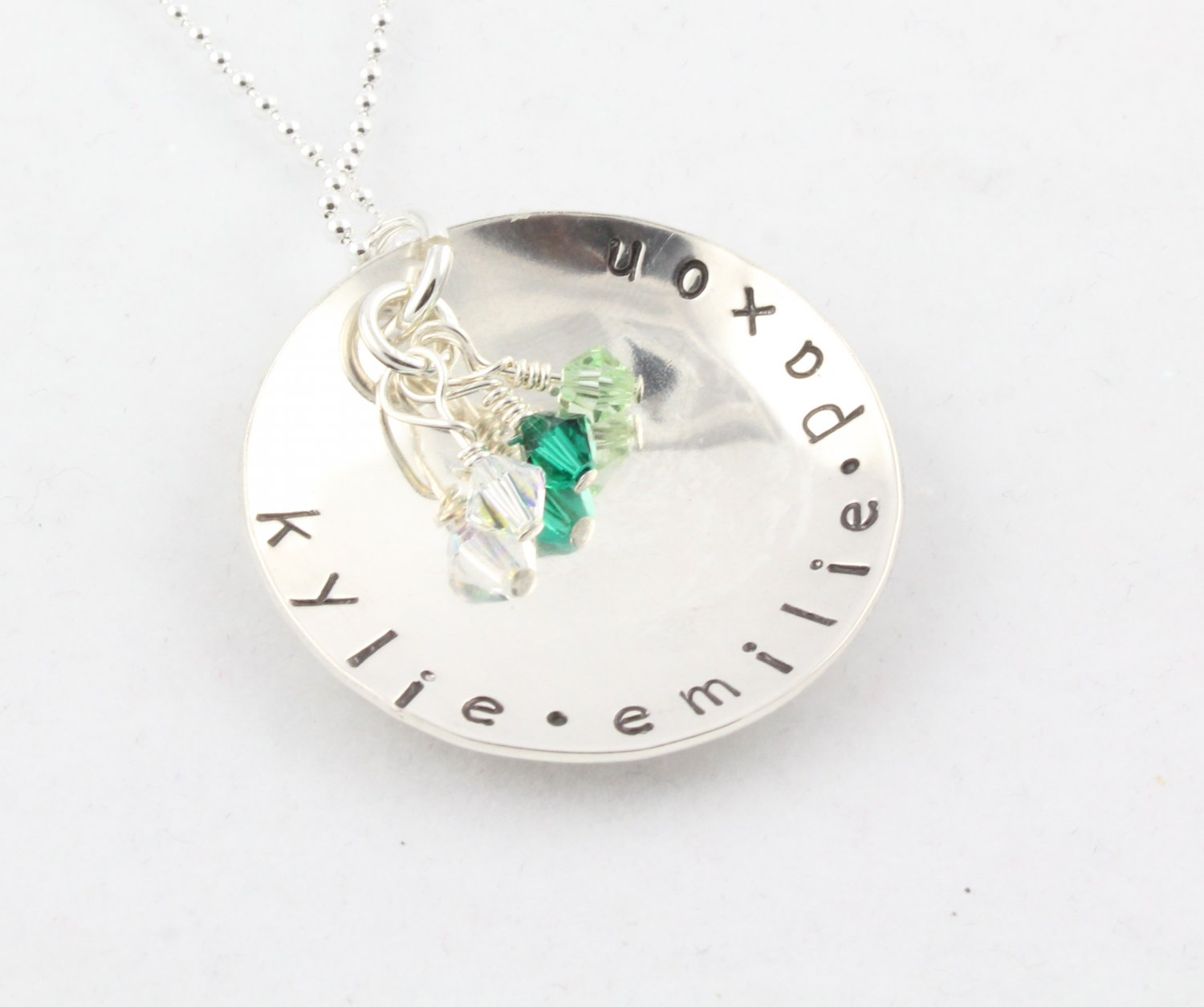 Birthstone Necklace Custom Personalized Family Sterling Silver N122