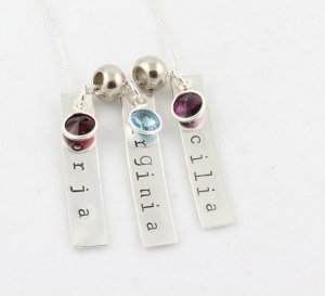 Custom Personalized Sterling Silver Birthstone Necklace
