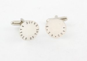 Father of the Bride Cufflinks Men Personalized Sterling Silver Circle Monogram Names