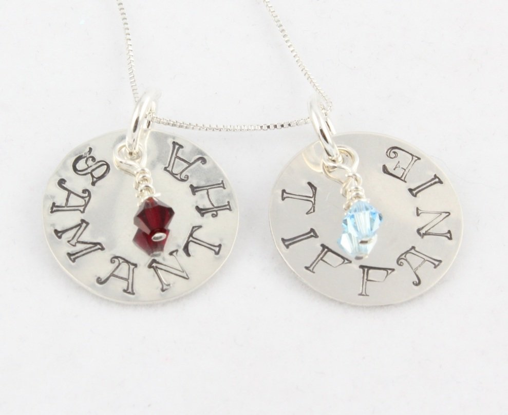 Custom Handstamped Personalized Mom Family Sterling Silver Circle Pendant Necklace N141
