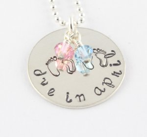 Twins Personalized Necklace - Baby Feet - Due Date - Maternity