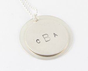 Sterling Silver Personalized Monogram Necklace - Custom Hand Stamped Necklace