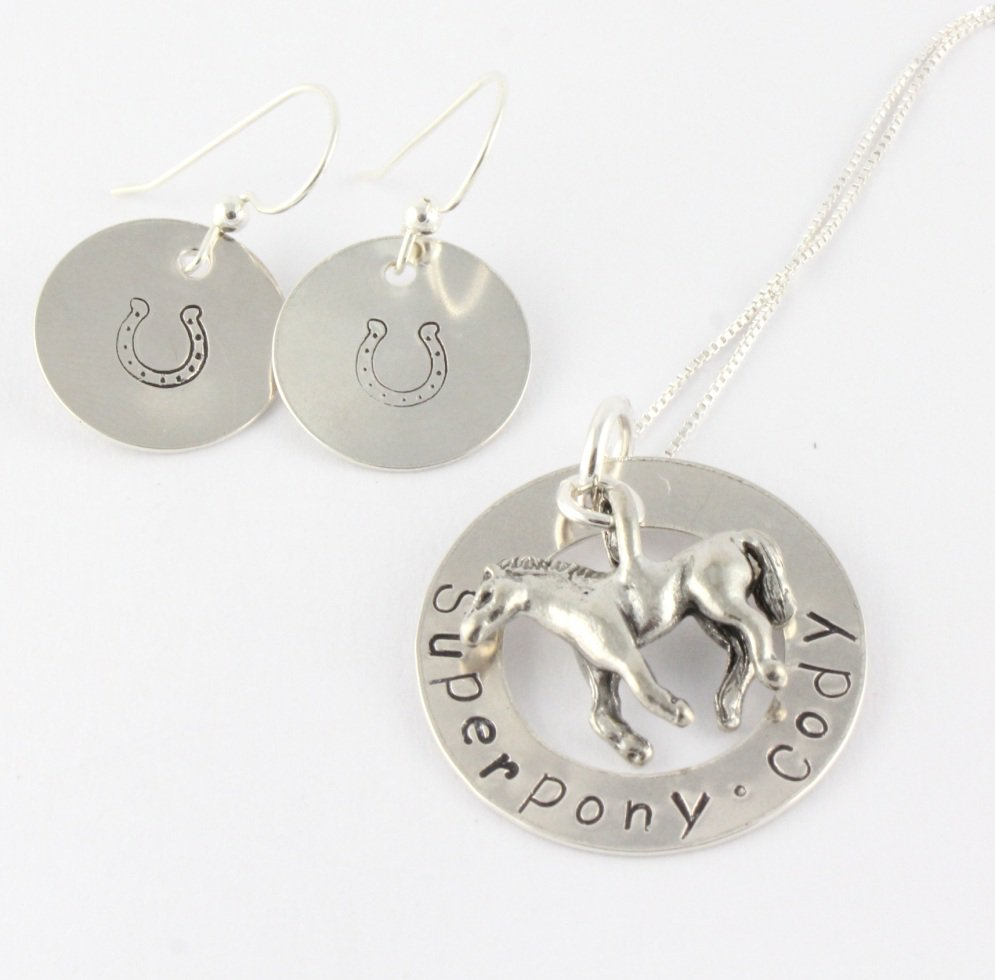 Horse Necklace Earrings Set- Custom Hand Stamped Personalized Sterling Silver N107