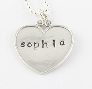 Personalized Heart Necklace - Handstamped Custom Necklace - Mom Necklace
