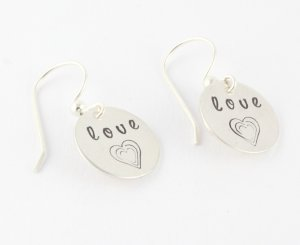 Love Heart Earrings - Sterling Silver Dangle Earrings - Hand Stamped Earrings