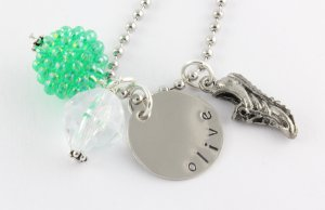Track Running Charm Necklace - Custom Personalized Silver Necklace