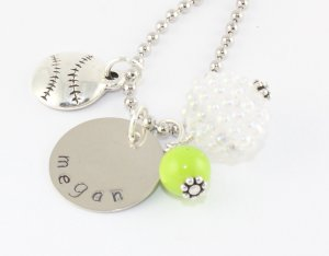 Softball Charm Necklace - Custom Personalized Silver Necklace