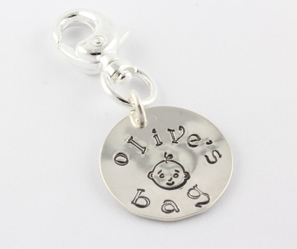 Personalized Diaper Bag Zipper Pull Sterling Silver