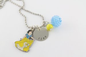 Snow White Charm Necklace - Custom Personalized Silver Necklace