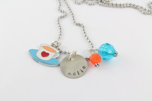 Tea Party Charm Necklace - Custom Personalized Silver Necklace