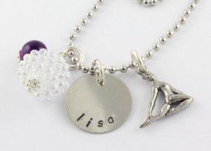 Gymnast Charm Necklace - Gymnastics - Custom Personalized Silver Necklace