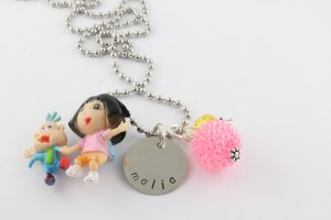 Dora The Explorer Charm Necklace - Custom Personalized Silver Necklace