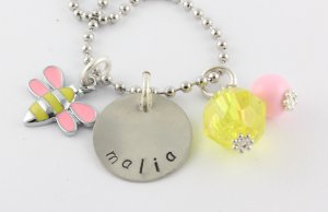 Busy Bee Charm Necklace - Custom Personalized Silver Necklace
