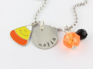 Halloween Charm Necklace - Custom Personalized Silver Necklace