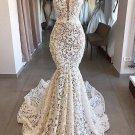 Off white mermaid bridal dress, mermaid prom dress, simple lace bridal wedding dress